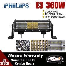 9INCH 360W Quad Row LED Work Light Bar Spot Flood Combo Offroad Driving ATV 4WD