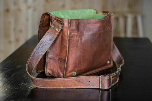 """13/"""" Men Vintage Genuine Leather Full Flap Messenger Laptop Satchel Shoulder Bags"""