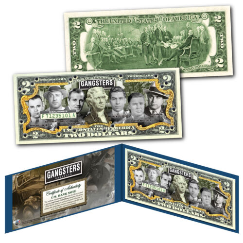 MGK Capone GANGSTERS Official US $2 Bill Siegel Luciano Floyd Dillinger