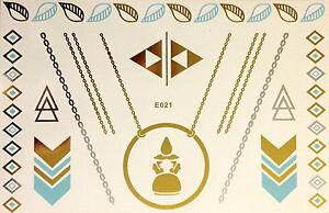 Flash-solo-uso-Temporal-Tatuaje-Adhesivo-Oro-Azul-Plata-15teile-BODY-Pulsera-E21
