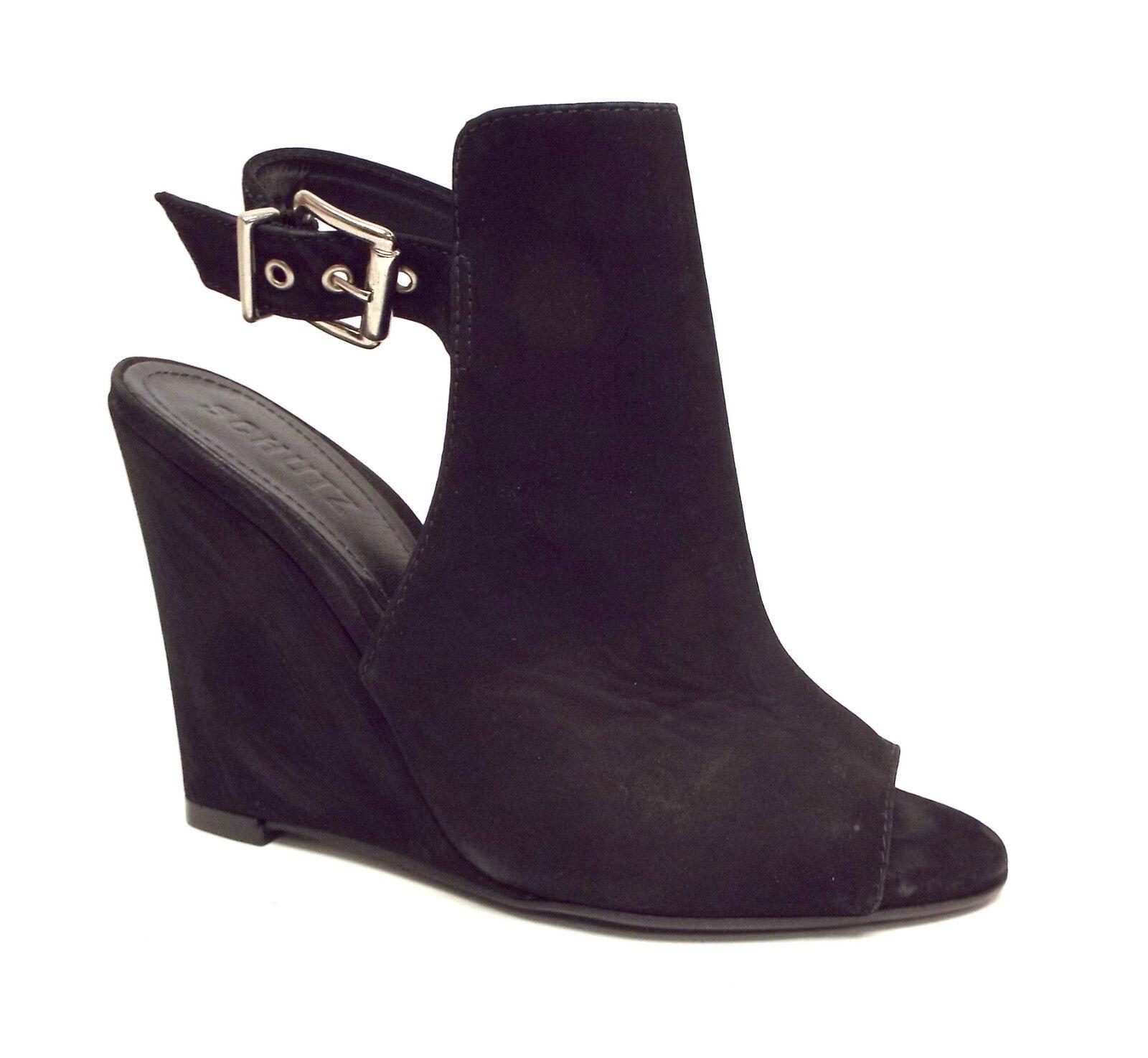 SCHUTZ Size 7 Black Nubuck Mantle Wedges Heels shoes 38