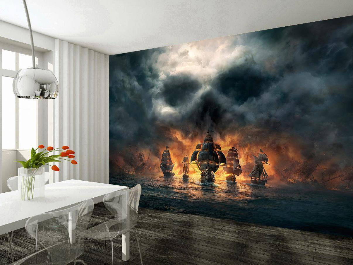 Pirate Ships Skull Photo Wallpaper Woven Self-Adhesive Wall Mural Art Decal M216