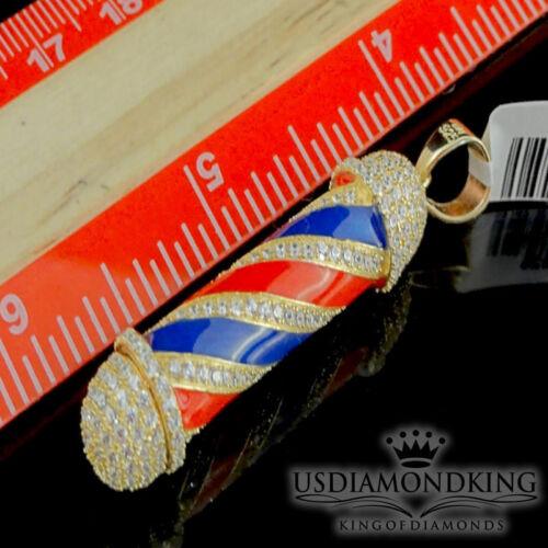 Barber Pole Pendant 925 Silver 14K White Yellow Gold Tone Simulated Diamond New