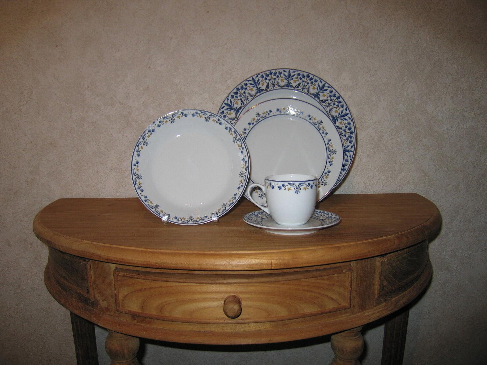 SOLOGNE DESHOULIERES NEW Séville Bleu Set 3 Assiettes + 1 Tasse à café