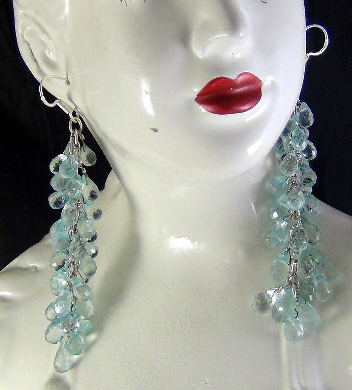 NATURAL DESIGNER AQUAMARINE FACETED BRIOLETTE DROPS DANGLING EARRINGS