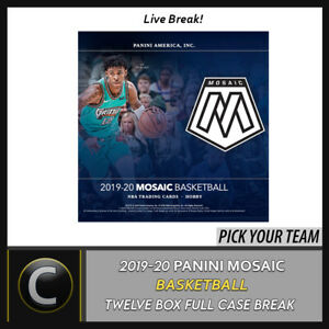 2019-20-PANINI-MOSAIC-BASKETBALL-12-BOX-FULL-CASE-BREAK-B427-PICK-YOUR-TEAM