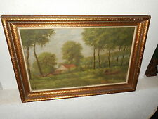 Old oil painting,{ Landscape with a house in the woods, is signed, and antique!