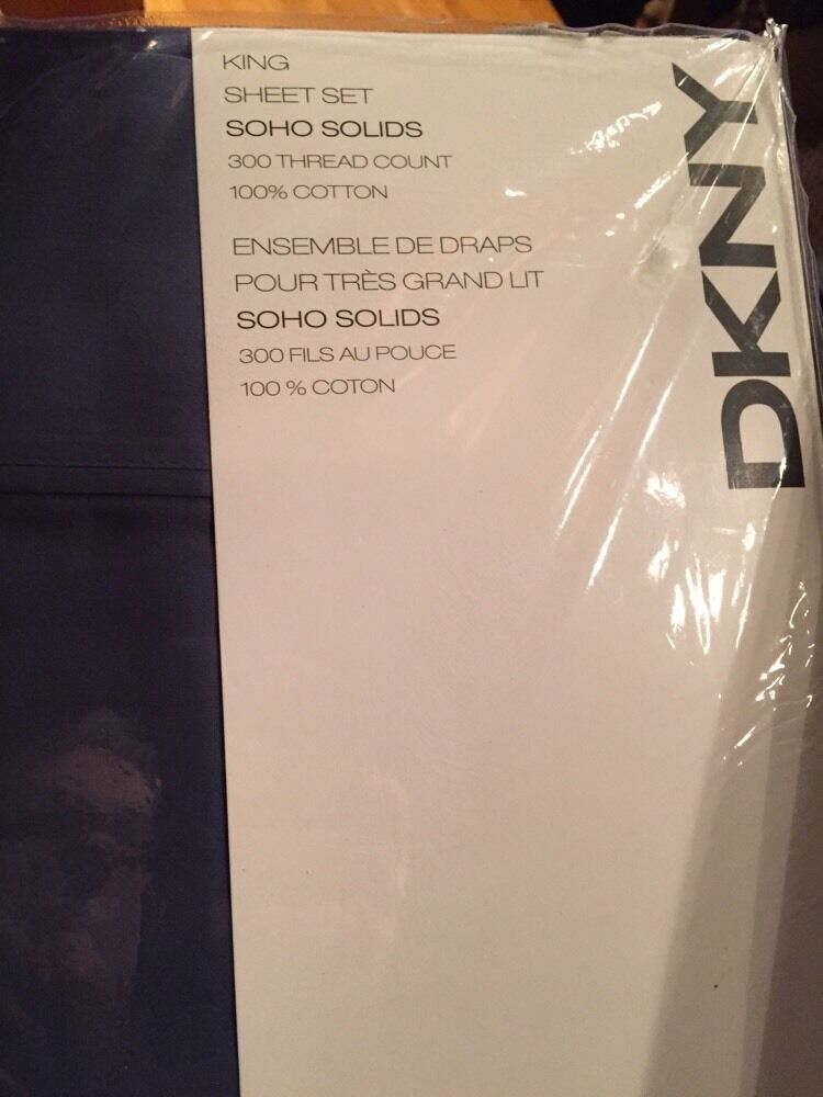DKNY King Sheet Set SOHO SOLIDS 4PC NEW 100% COTTON NIP Navy blueeeee