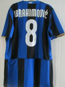 best sneakers 191f1 f21a0 Details about Inter Milan 2008-2009 Ibrahimovic 8 Home Football Shirt Size  XL /39098