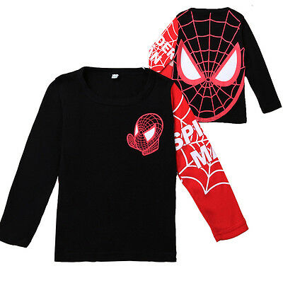 Kids Boys Baby Girls Spiderman Hero Short Sleeve Tops Unisex T-Shirt Clothes