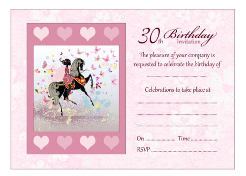 Pack of 20 Girl And Horse Birthday Party Invitations With Pink Envelopes