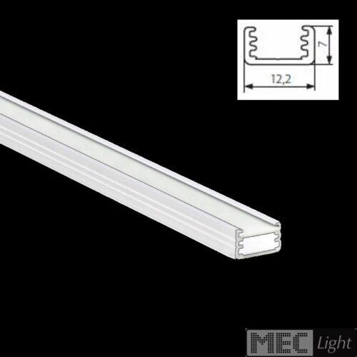 1m ALU-Profil // Leiste SLIM-8 12x7mm in weiß eloxiert opaler Abdeckung