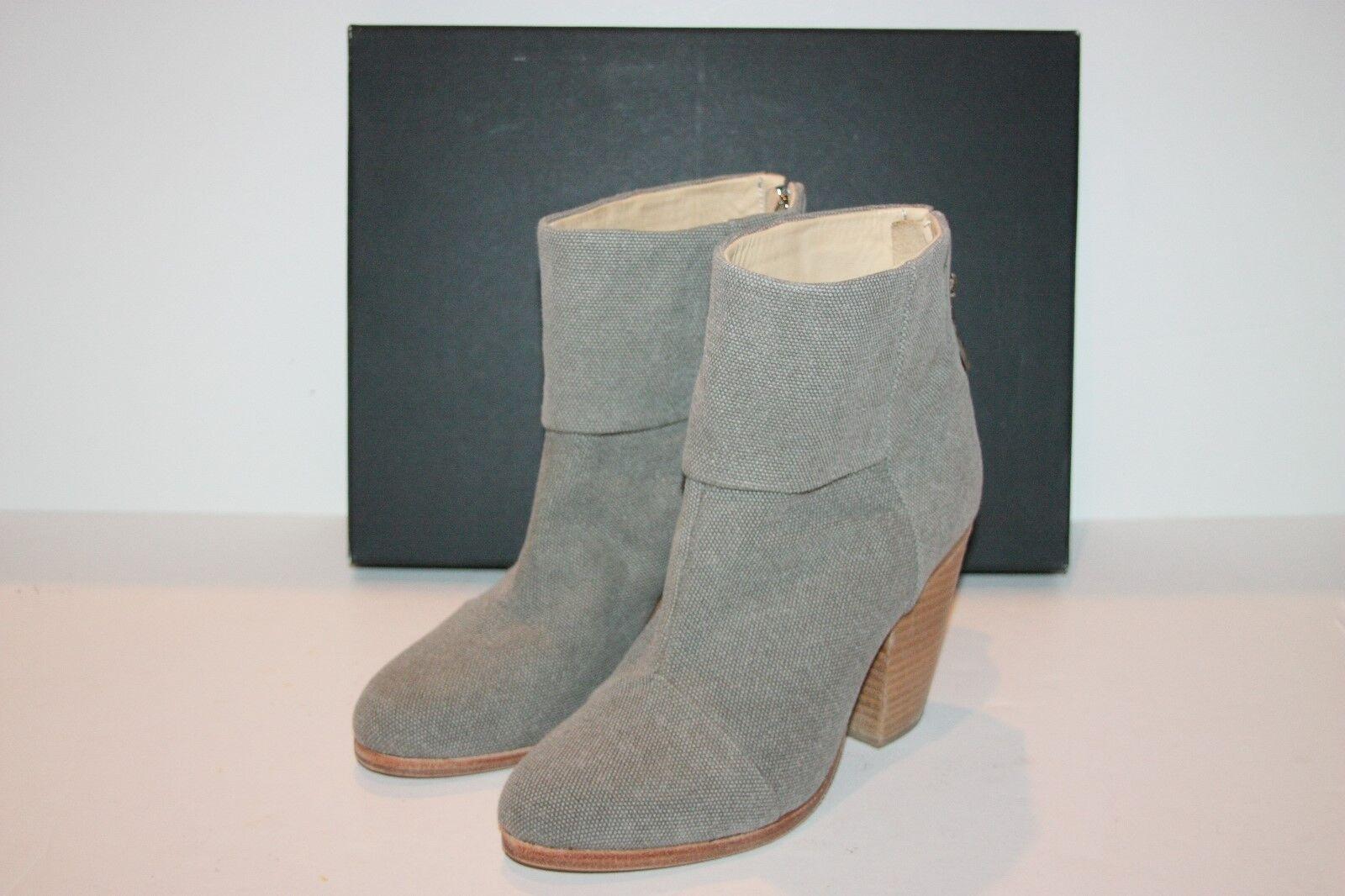 $595 Rag & Bone NEWBURY Grey Canvas Ankle Booties 37 / 7