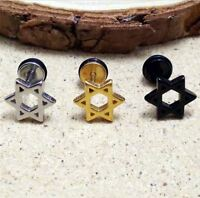 16g Star Cartilage Helix Tragus Earrings 6 Point Jewelry Stainless Steel Jewish