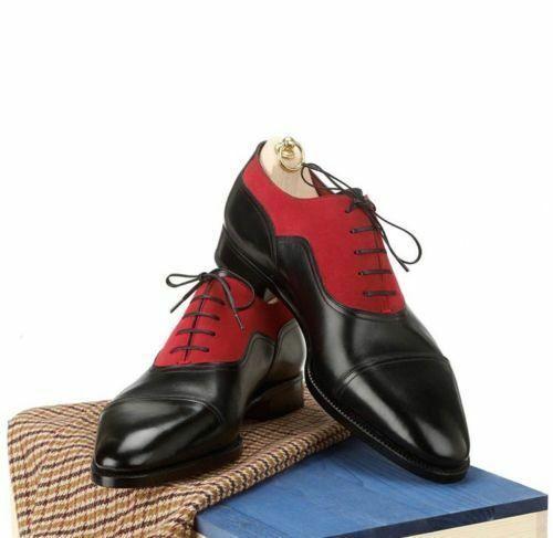 Sconto del 40% Uomo Handmade Genuine nero Leather And And And rosso Suede Two Tone Wingtip Toe Cap Shoe  100% nuovo di zecca con qualità originale