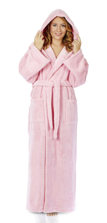 Women's Hooded Ankle Length Long Fleece Plush Bathrobe Made in Turkey S M L