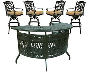Outdoor-5-Piece-Patio-Party-Bar-Set-Cast-Aluminum-Garden-Swivel-Stools-Bronze