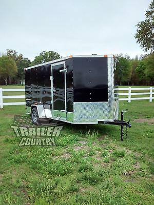 NEW 2018 6x12 6 x 12 V-Nosed Enclosed Cargo Motorcycle Trailer Ramp & Side Door