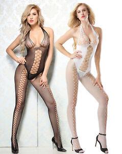 f622fd29283 Image is loading Woman-Fishnet-Bodystocking-Bodysuit-Sexy-Lingerie-Babydoll- sleepwear-