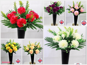 Image is loading Artificial-flower-arrangement-grave-pot -spike-memorial-Chrysanthemum- & Artificial flower arrangement grave pot spike memorial Chrysanthemum ...