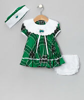 Baby Girl Shanil Green Plaid Lace Collar Pleated Dress Set - 24 Months