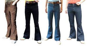 Mens-Flares-Bell-Bottoms-vtg-Cords-Jeans-Mod-Hippy-Pants-High-Rise-Denim-60s-70s