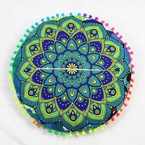 Indian Mandala Round Floor Pillows Cases Bohemian Home Sofa Car Cushion Cover UK