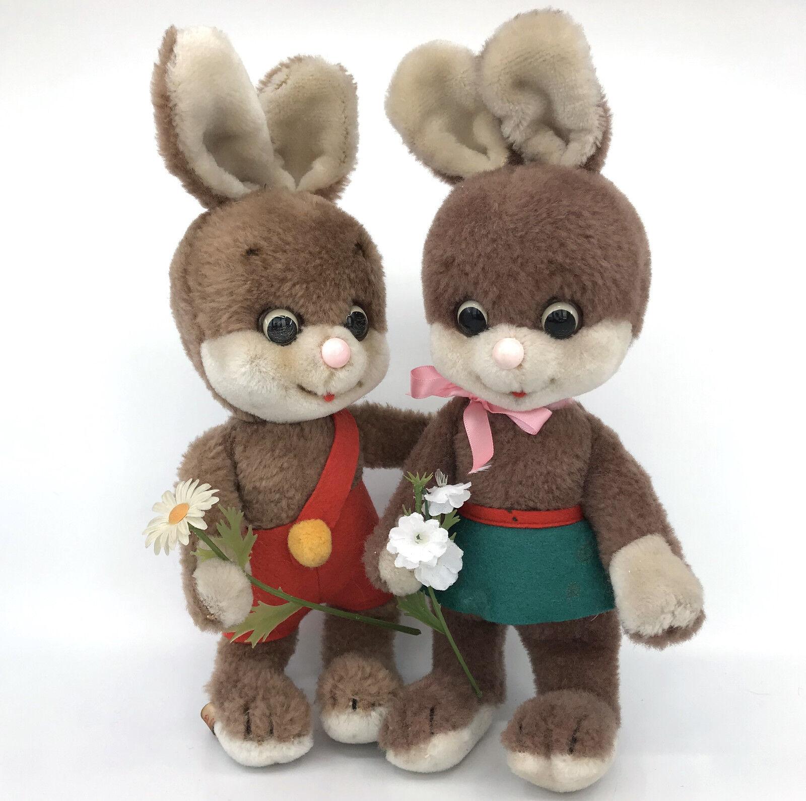 Schuco Boy Girl Flora Rabbit x2 Dralon Plush 25cm 10in Tags Bigo Bello 1960s Vtg