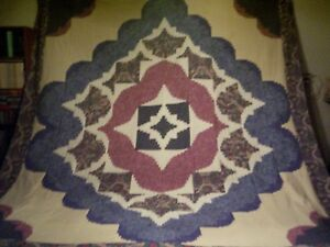 Very-Nice-Unique-Modified-Medallion-Log-Cabin-Quilt-Top-92-x-108-approx