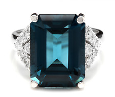 15.20 Carats Natural LONDON BLUE TOPAZ and Diamond 14K White Gold Ring