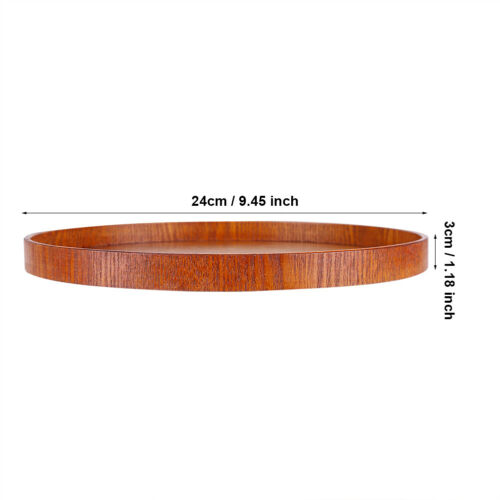 Round Wood Serving Tray Wooden Plate Tea Food Server Coffee Dish Platter Home