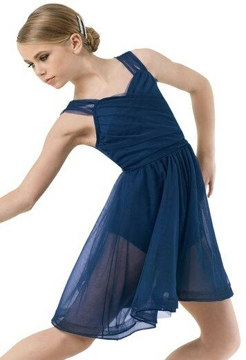 Figure Skating Dress Dance Costume Ice Dance Shirred Navy Tulle Size AXXL