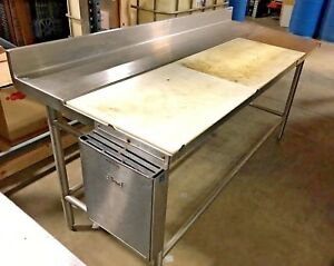 Amtekco Stainless Steel Prep Table Poly Top Cutting Board ...