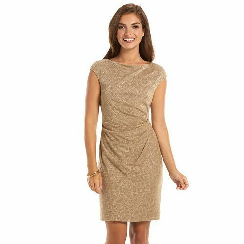 New Chaps Embellished Chevron Sheath Dress  (Regular, Sz 14) - NWT, ships free