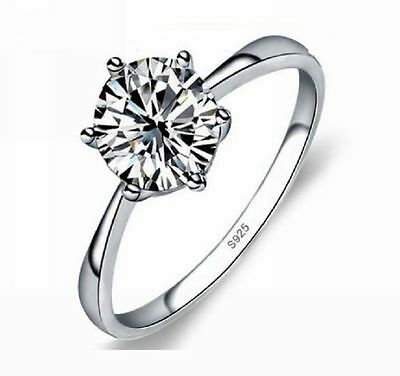 Solitaire 0.9CT CZ Zirconia Gem Wedding Promise Finger Ring 925 Sterling Silver