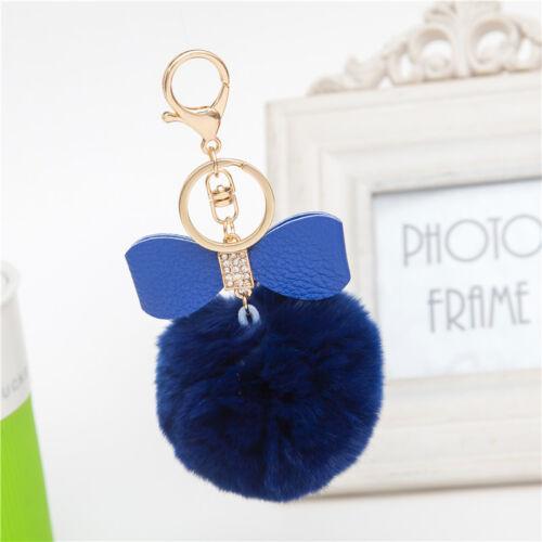 Rabbit Fur Pom-pom Key Chain Bag Charm Fluffy Puff Ball Bow Key Ring Pendants SS