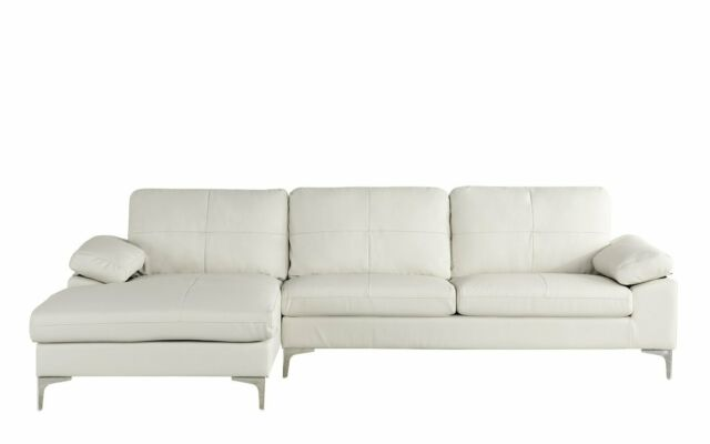 Marvelous Modern Leather Sectional Sofa L Shape Couch W Chaise Off White Gmtry Best Dining Table And Chair Ideas Images Gmtryco