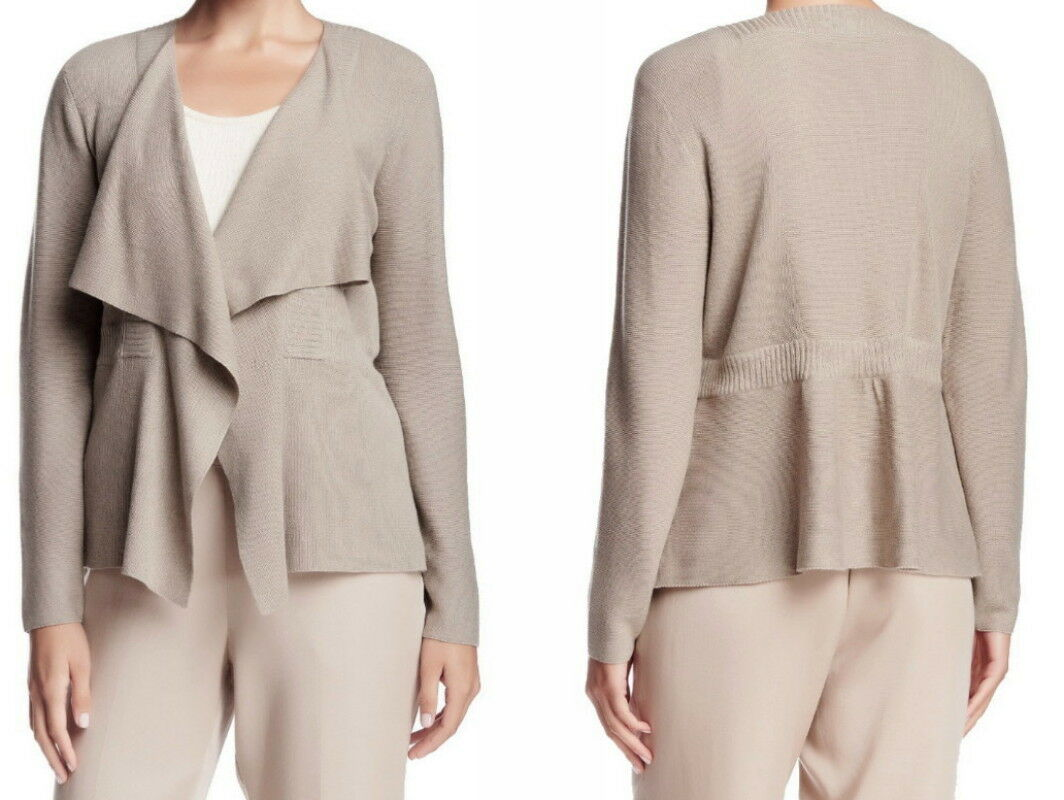 Eileen Fisher Shaped Drape Front Cardigan Medium Natural Beige Organic