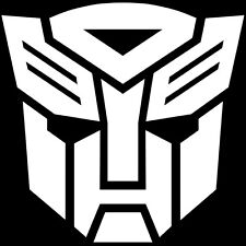 2x WHITE Transformers Autobot Vinyl Decal Sticker Car Hood Window Laptop iPad