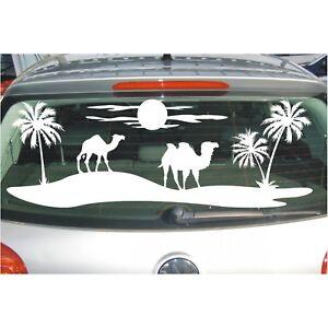 Aufkleber Landschaft  Palmen Wüste Kamel Kamele Oase Sonne Sahara Folie Sticker