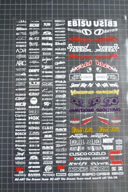 RC DRIFT CAR WHITE + color Decal Sticker Label Yokomo MST HPI Tamiya Overdose