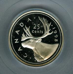 1998 CANADA SILVER 25 CENTS PCGS PR69 ULTRA HEAVY CAMEO FINEST GRADED *