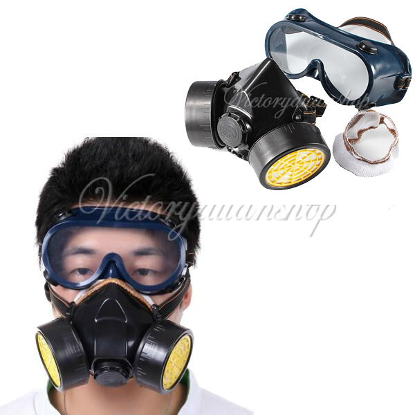 Respirator Mask + Eye Goggles Set for Industrial Gas Anti-Dust Chemical Paint