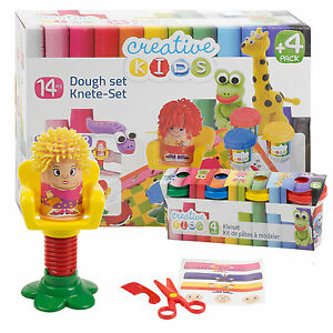 14-Piece-Clay-Craft-Dough-Hairdressing-Gift-Set-Tubs-amp-Shapes-Children-Toys-Xmas
