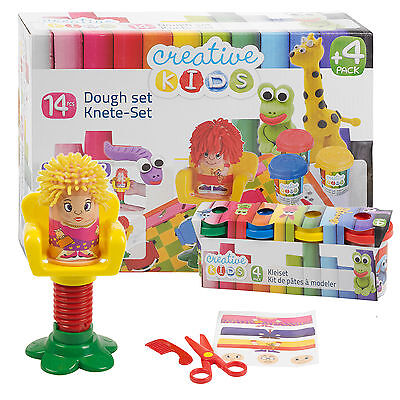 14 Piece Play Dough Hairdressing Craft Gift Set Tubs & Shapes Children Toys Xmas