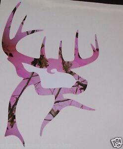 Pink Camo Buck Commander Deer Head Window Decal Decals