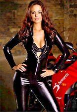 Sexy Slim Cosplay Zipper Bodysuit Club wear Jumpsuit Wet Look Catsuit 2XL Fits