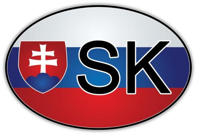 Slovakia Oval Bumper Sticker or Helmet Sticker D2260 Euro Oval Country Code
