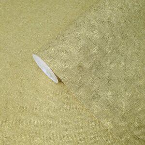 Yellow-gold-metallic-plain-faux-sack-cloth-textures-Modern-Textured-Wallpaper