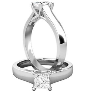 0.30 Ct Princess Moissanite Engagement Ring 14K Solid White Gold ring Size 7 8